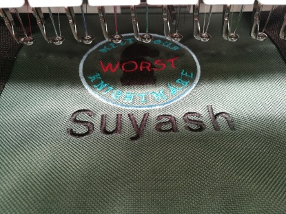 Embroidering our original patch desigg